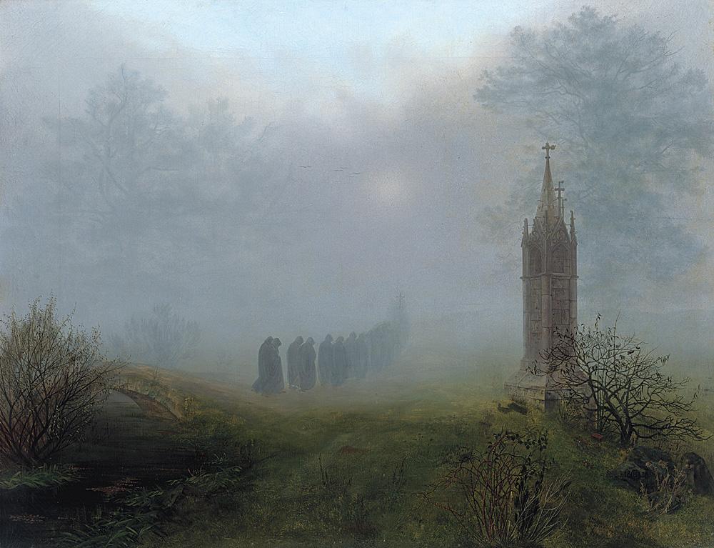 Ernst Ferdinand Oehme - Prozession im Nebel
